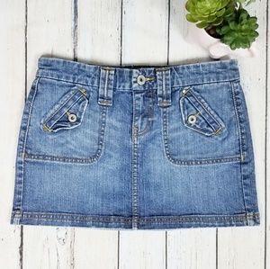 Old Navy Ultra Low Waist Denim Mini Skirt Size 4